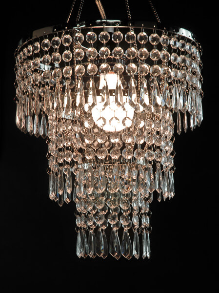 Crystal Pendant Chandelier 3 Tier 12in W Lighting Kit