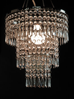 Crystal Pendant Chandelier 3-Tier, 12in w/ Lighting Kit