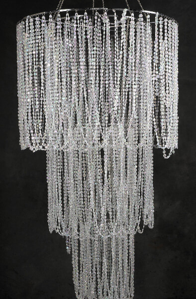 Four tier 77 crystal chandelier plug in for Plastic chandeliers for parties