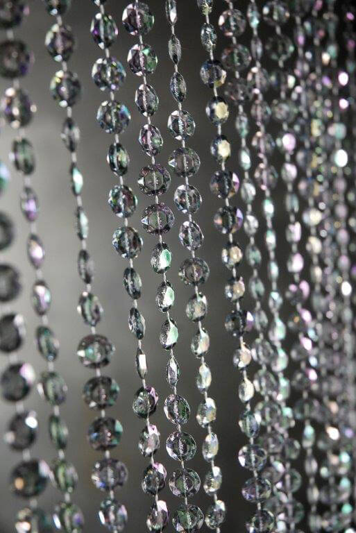 Crystal Beaded Curtains, Smoke Gray Iridescent, 3 Ft X 6 Ft