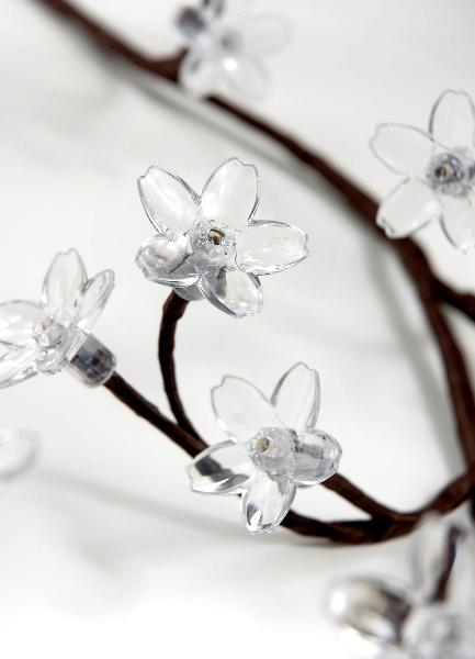 "Crystal Flower 36"" Branch, Warm White, Battery Op."