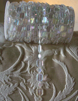 Hand Strung 99 Feet Crystal Garland Spool,  Iridescent Emerald Cut