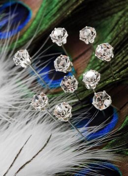 10 Crystal Corsage Pins 2in