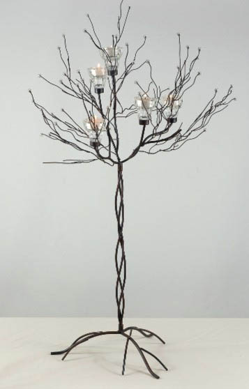 Set of Two Crystal Candle Tree Candle Holders 32""