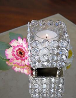 Square Crystal Tealight Holder 3x3