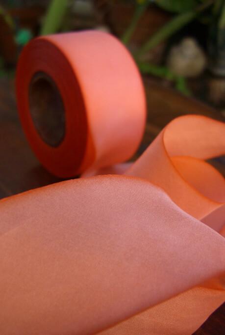 """Custom Dyed 100% Silk Coral Peach Orange  1.5"""" x 38 yds"""