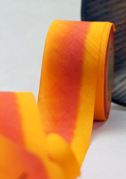 Custom Dyed 100% Silk Ribbon Orange Yellow  1.5in x 38 yds