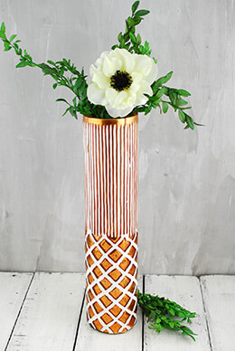 Boho Copper & White Ceramic Vase 13""