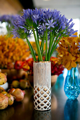 Boho Vase 9 Inch Copper & White Ceramic