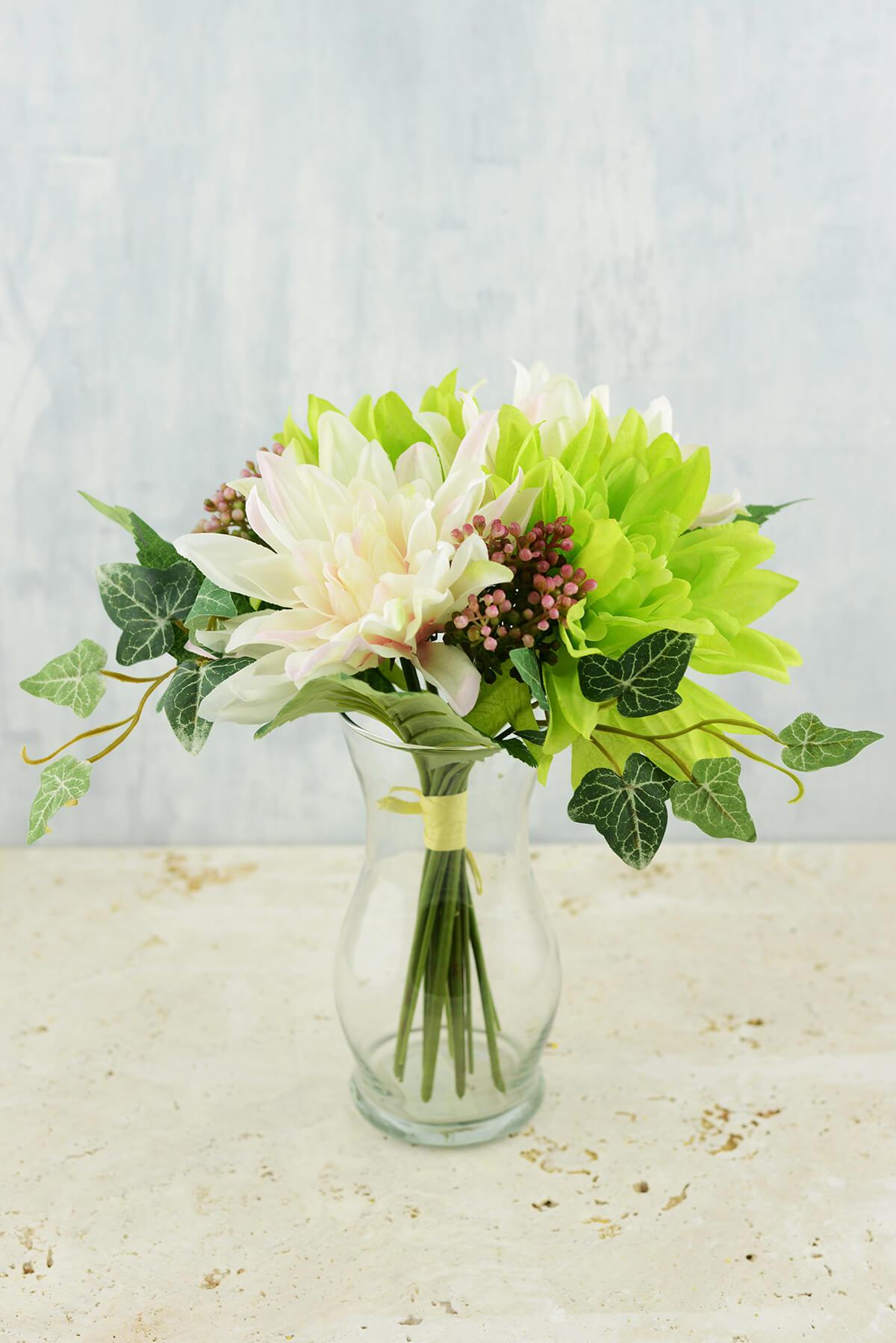Silk Flower Bouquet Dahlias & Ivy Pink & Green 11in
