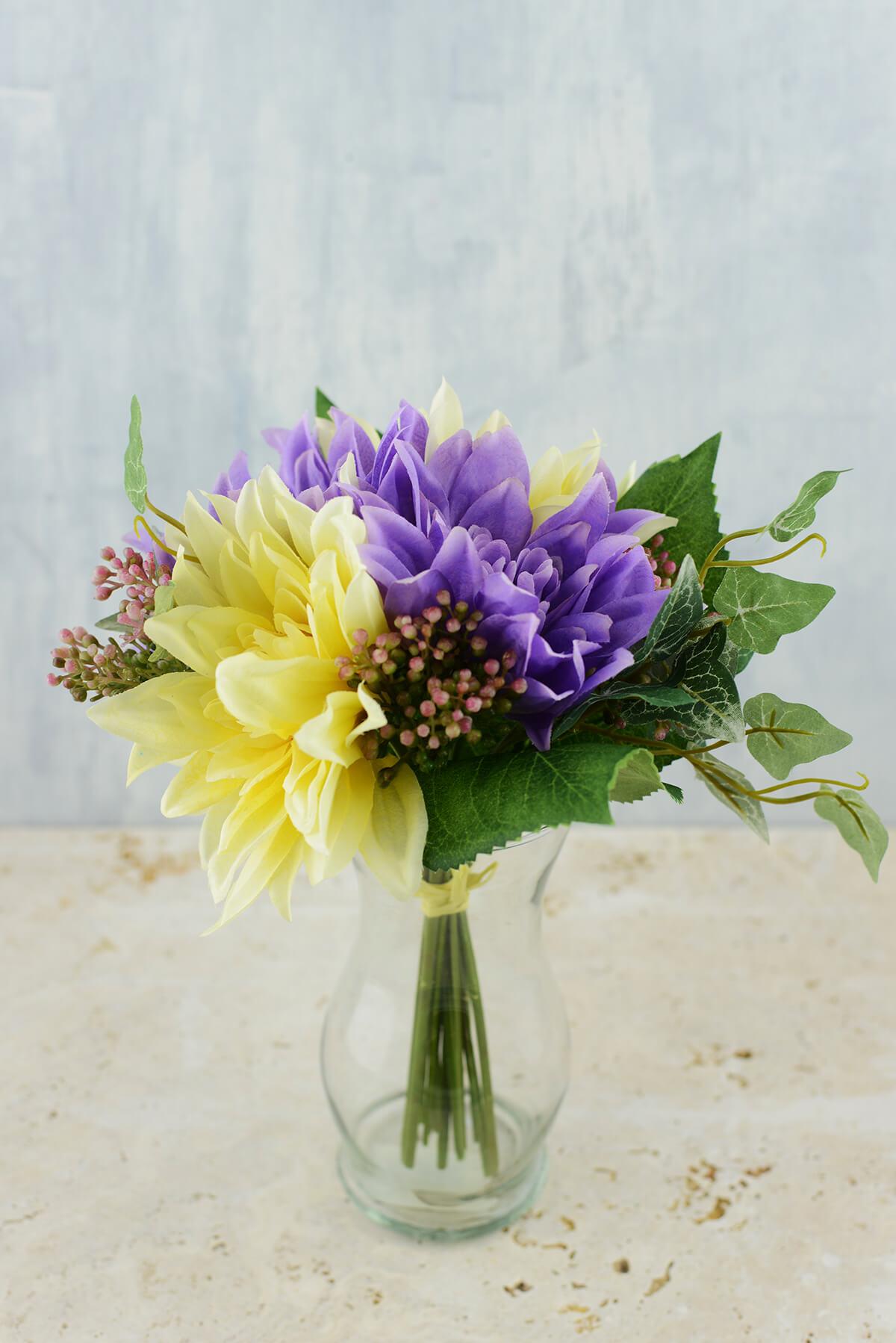 Dahlia Bouquet Purple & Yellow 11in
