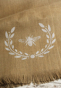 Wreath & Bee Burlap Table Runner  18 x 96