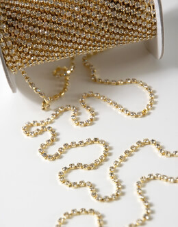 Rhinestone Ribbon Trim with Gold Setting 1/16in x 11yds (with stones)