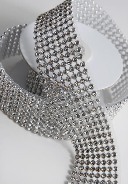 Diamond Ribbon Trim With Glass Stones 1 3 8in X 41in 8 Rows