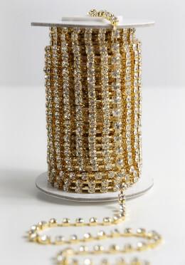 Rhinestone Ribbon Trim with Stones Gold Setting 1/8in x 11yds