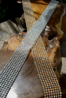 Diamond Ribbon Trim with Glass Stones Silver Setting 1-1/8in x 18-1/2""