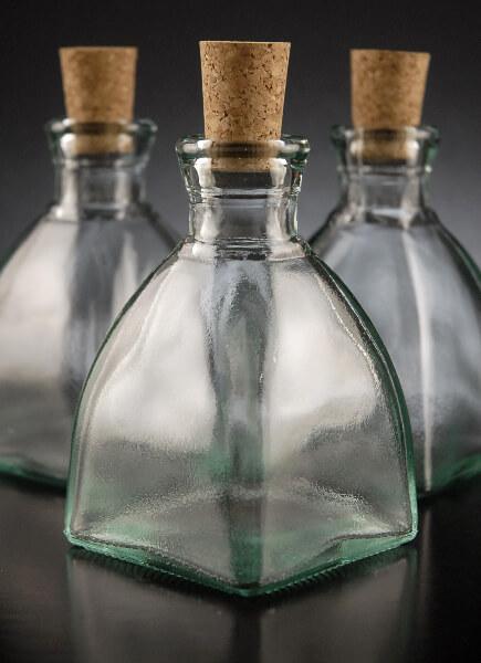 Cork Top 4in Diamond Shaped Glass Bottles 6.8oz