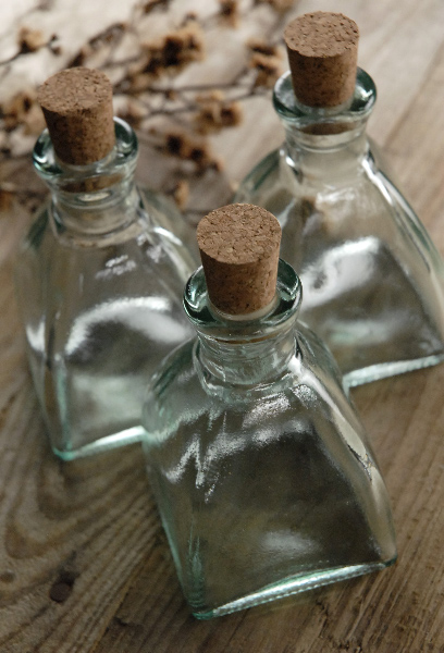 Cork Top 4in Diamond Shaped Glass Bottles 6 8oz