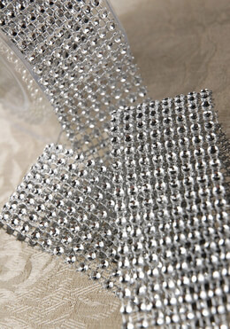 "Diamond Mesh Wrap 1.5"" x 5ft Simulated Rhinestones"