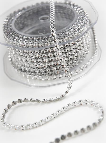 Single Line Diamond Mesh Ribbon, 3mm, Silver 5 Yards