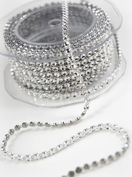 Single Line Diamond Mesh Ribbon, 3mm, Silver 5 Yards