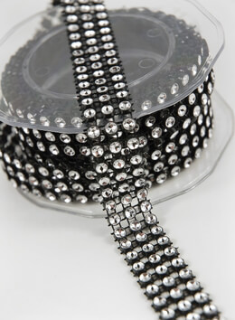 Diamond Mesh Black Setting 3/4 Inch x 3 yds, Simulated Rhinestones