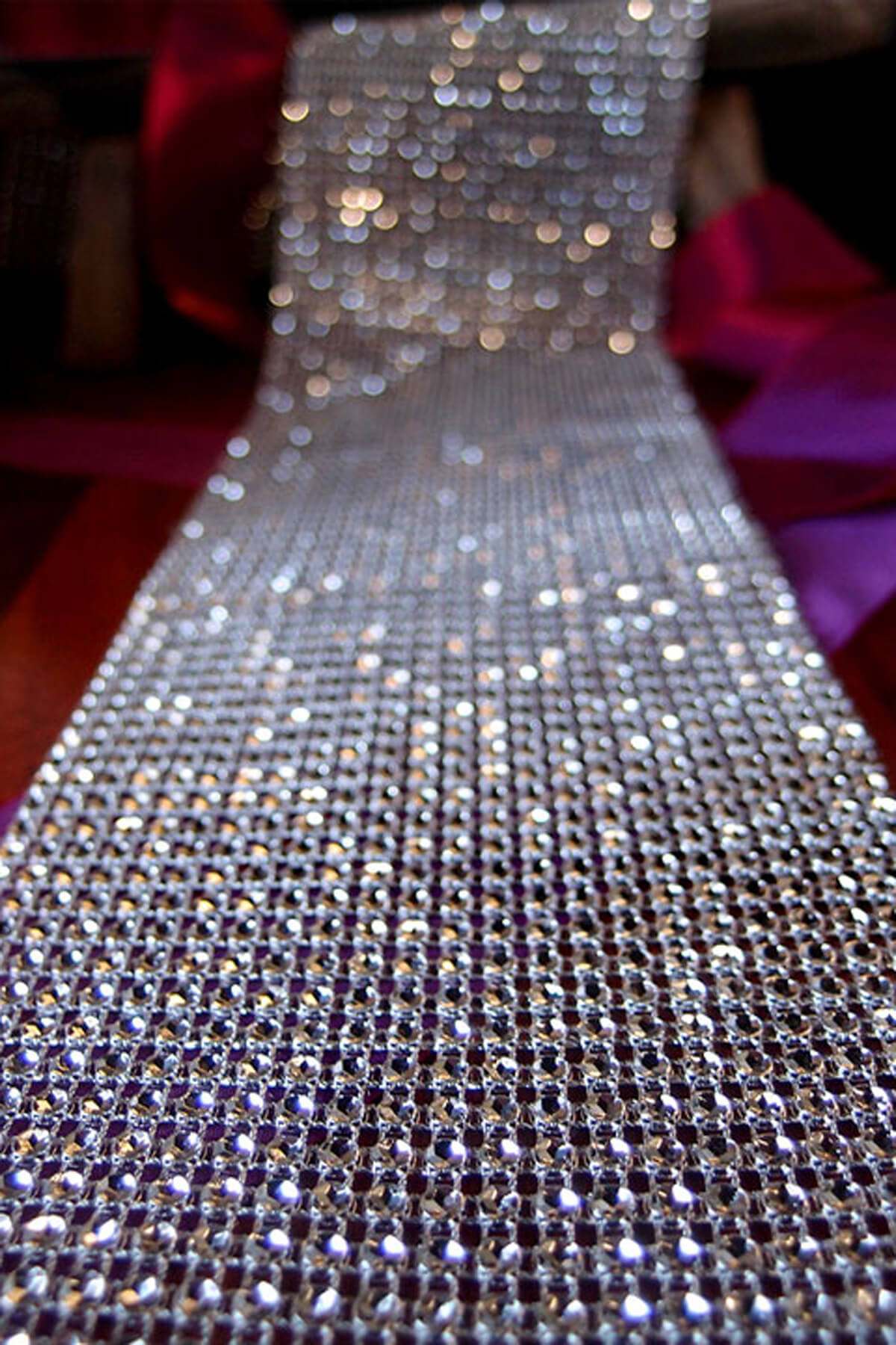 Diamond Mesh Wrap 2 Quot X 9 8ft Silver Setting Simulated Rhinestones