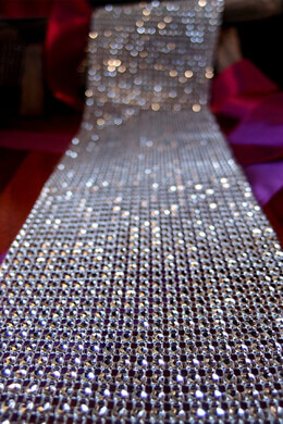 "Diamond Mesh Wrap 2""x 9.8ft Silver Setting, Simulated Rhinestones"
