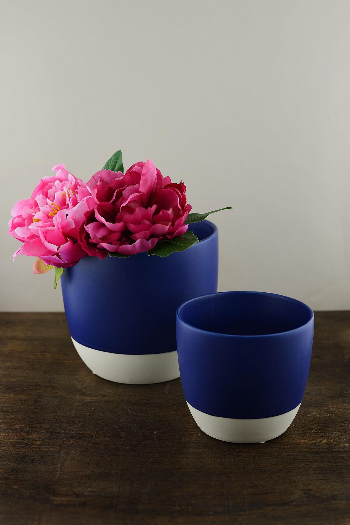 Ceramic Bumble Pot Dip Dyed Pot Cobalt 7in