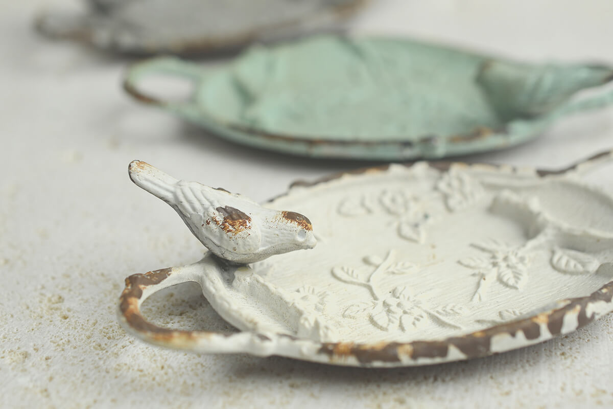 Set of 3 Pewter Bird Dishes  5in,  Antique Miniature Metal Ring Tray