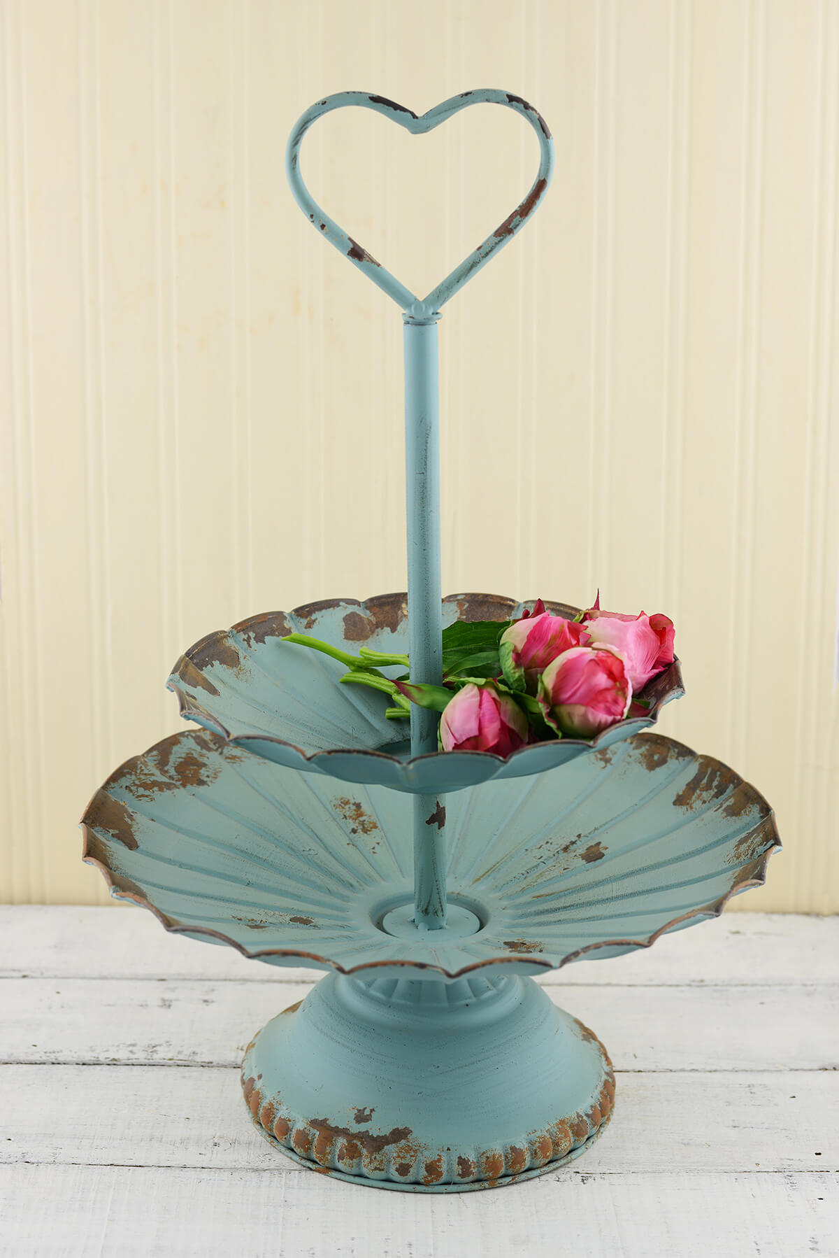 Distressed 2 Tier Tray Aqua 20in