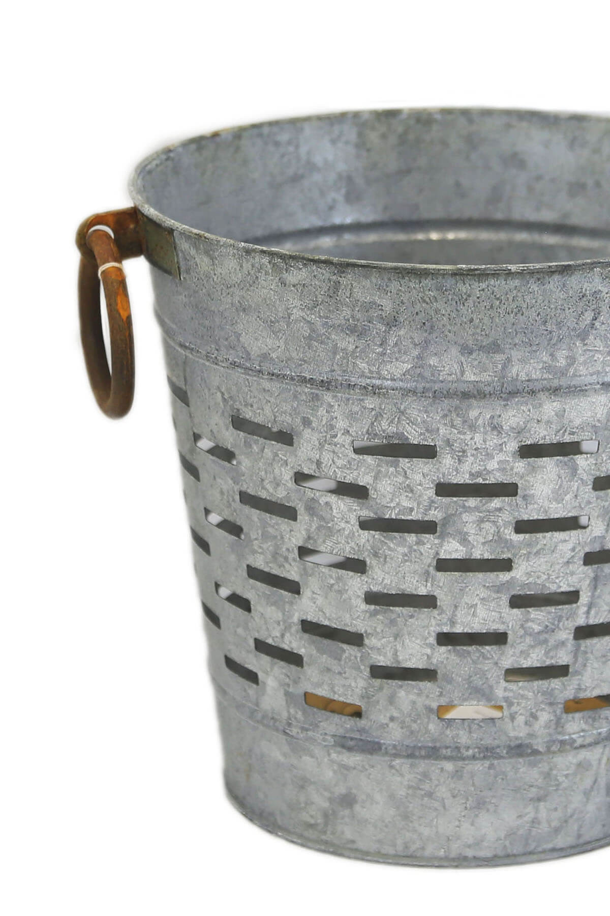 Distressed Round Olive Bucket