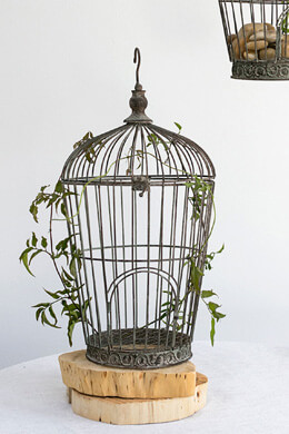 Antique Pompeii Metal Round Birdcage 21in