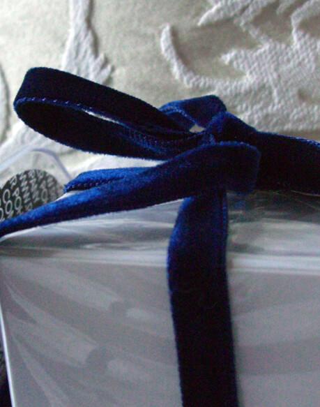 Navy Blue  Italian DF Velvet Ribbon 3/8in x11.5 feet