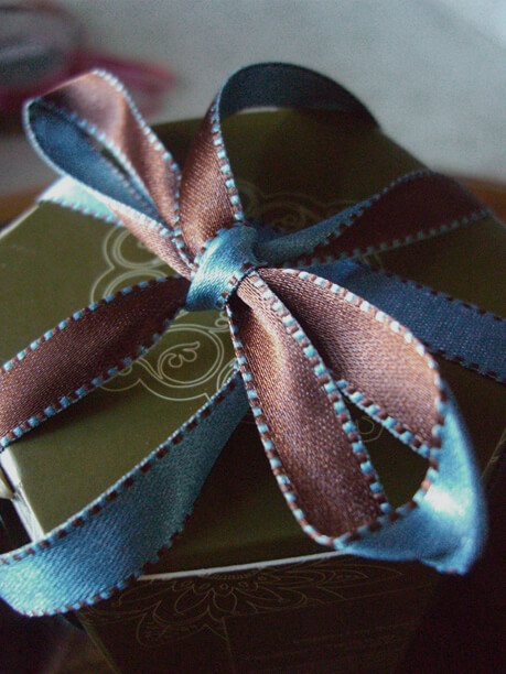 Satin Ribbon Blue & Brown 7/16in x 55 yds Stitched Edges