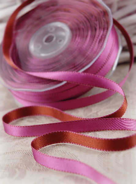 "Double Faced Satin Ribbon Pink & Brick Orange 7/16"" x 55yds"