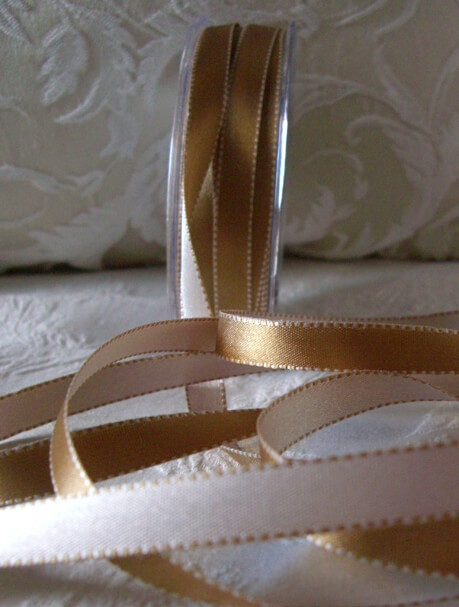 Double Sided Gold Amp Ivory 1 2 Quot Satin Ribbon 55 Yds