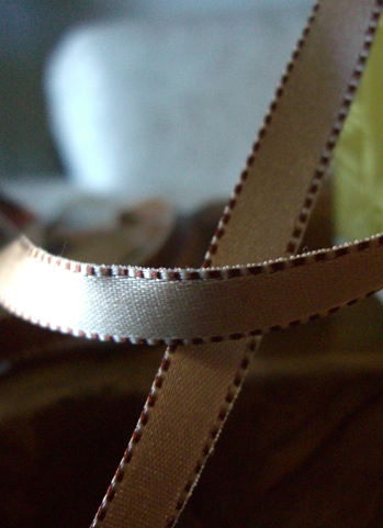 "Satin Ribbon Ivory & Brown Saddle Stitched Edges DF 7/16"" x 55 yds"