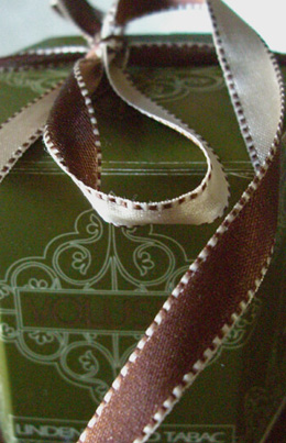 "Satin Ribbon Ivory & Brown Saddle Stitched Edges DF 7/16"" x 55 yds"