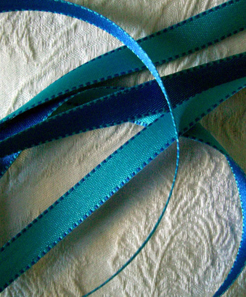 "Two Sided Satin Ribbon Turquoise & Blue  Stitched Edges 7/16"" Wide x 55 Yards"