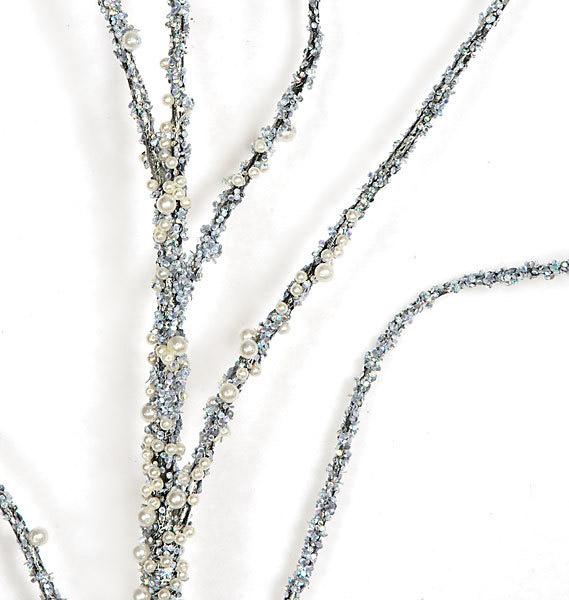Beaded Pearl & Silver Ilex Branch 78in 6.5ft