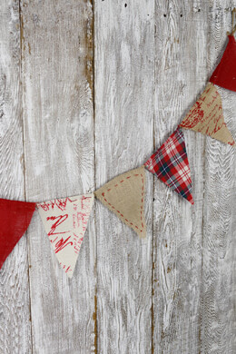 Prim Red Plaid Burlap & Linen Flag Banner 6ft