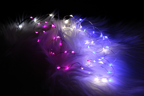 Blue Fantasia LED Fairy Lights,Battery Operated Silver Wire, 3 feet