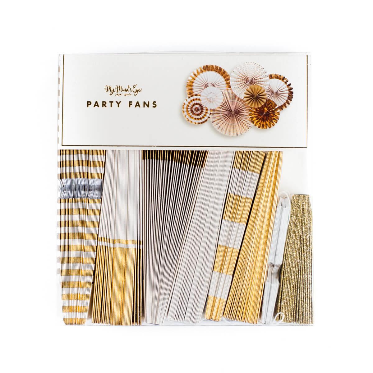 Fancy Party Fans Rosette Pinwheels Gold & White, Wedding Decorations, 8 Fans, MME