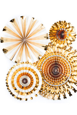 BASICS PARTY FANS-GOLD FOIL, MME Party Fans Collection, Photo Backdrops, Party Rosette Pinwheels