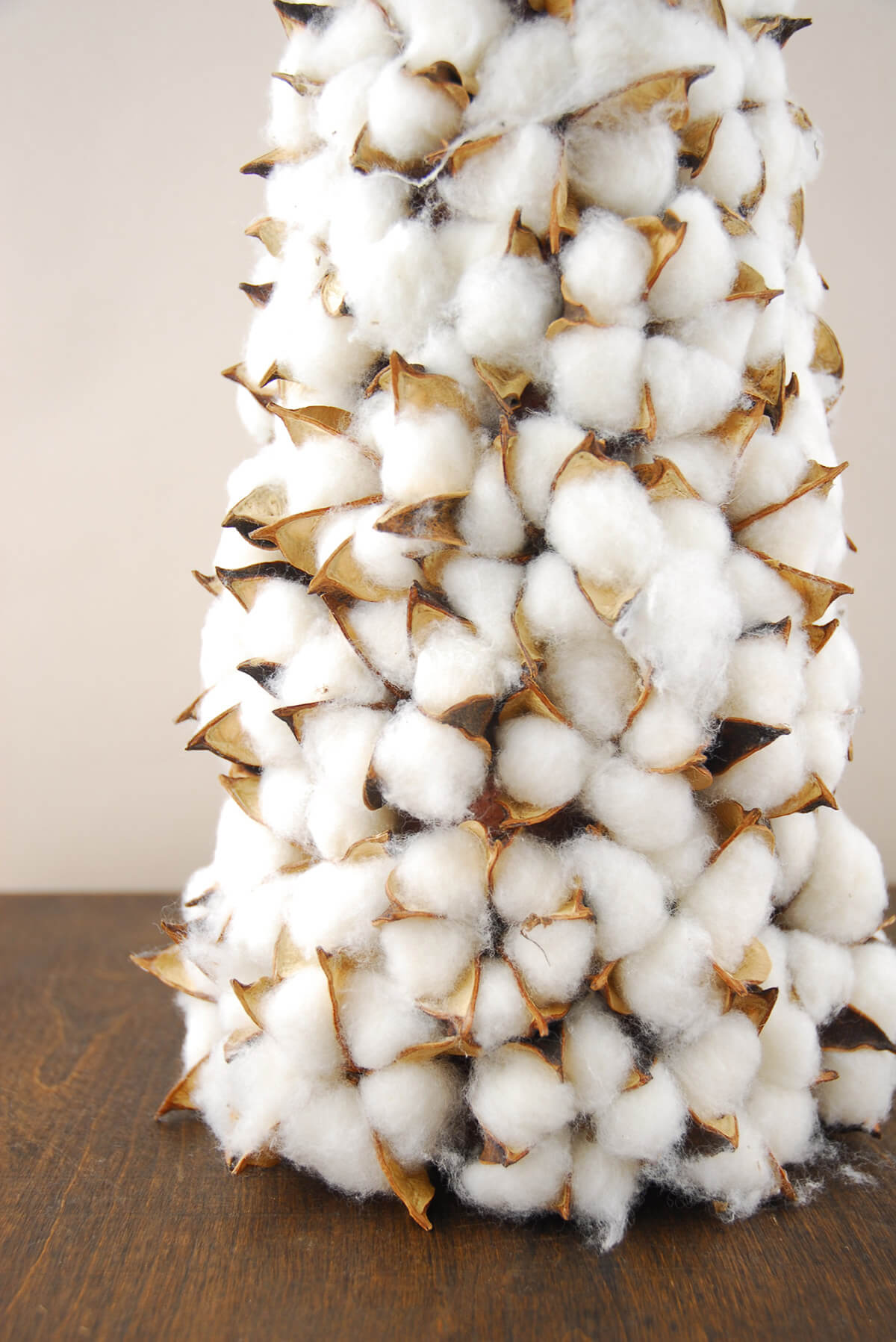 Cotton Boll Christmas Tree Cone 19 Inch