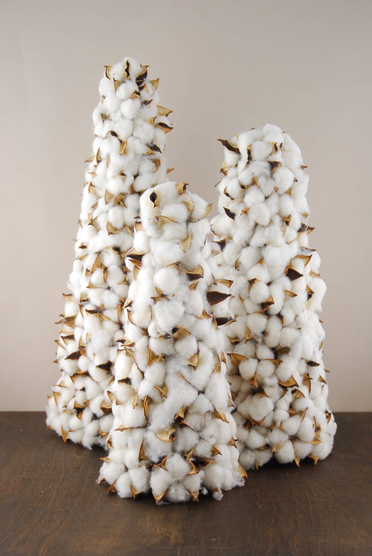 Cotton Boll Christmas Tree Cone 19 Inch