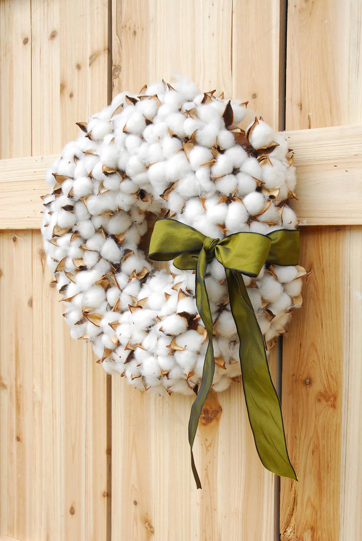 Faux Cotton Wreath 14in