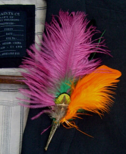 Feather Boutonnière Pink Peacock Feathers