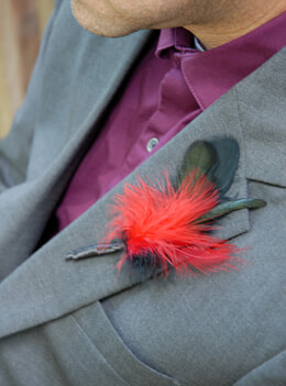 6 Feather Boutonnieres Black & Red